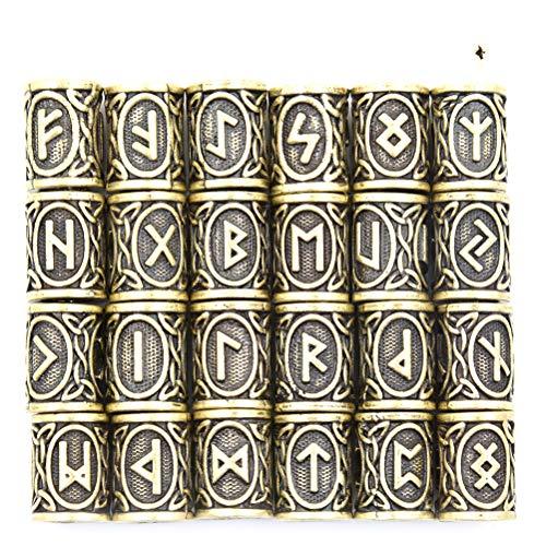 ruiyele 24pcs nórdico Viking runas pelo barba cuentas envejecido cuentas para Barbas pelo colgantes/pulseras DIY, Ancient Cyan