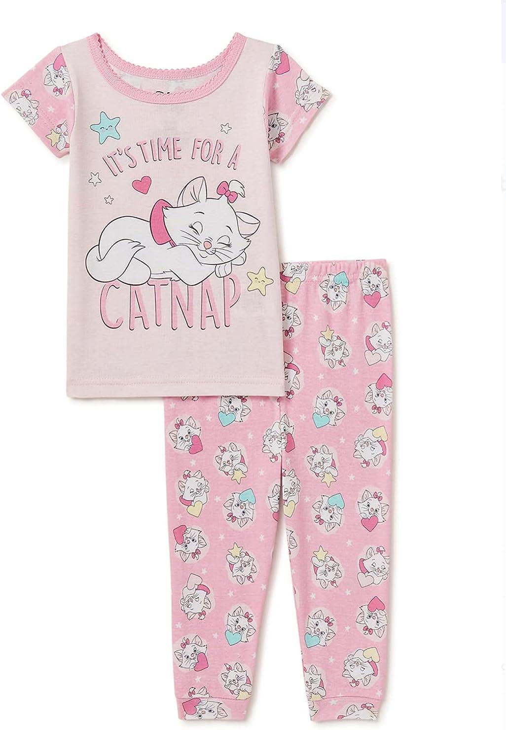 Disney Baby Girl's Marie Cotton Pajamas Short Sleeve Snug Fit, 2-Piece Set