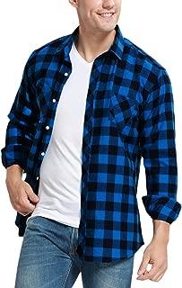 Men's Long Sleeve Plaid Flannel Fleece Shirt Slim Fit Button Down Check Tops