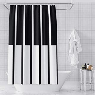 Renaiss White and Black Keyboard Shower Curtain, Modern Pian