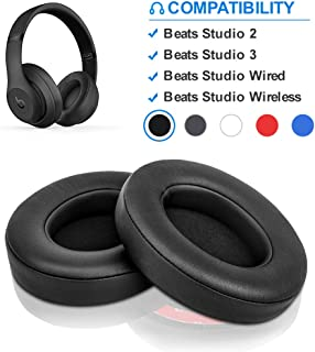 Beats Studio Replacement Ear Pads by Link Dream - Replacement Ear Cushions Kit Memory Foam Earpads Cushion Cover for Beats Studio 2.0 Wired/Wireless B0500 / B0501 & Beats Studio 3.0, 2 Pieces (Black)