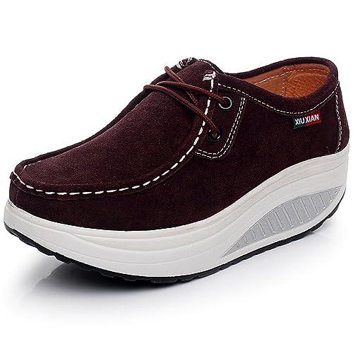 4ce2d8d3d52fc Shenn Women's Fitness Suede Leather Sneaker