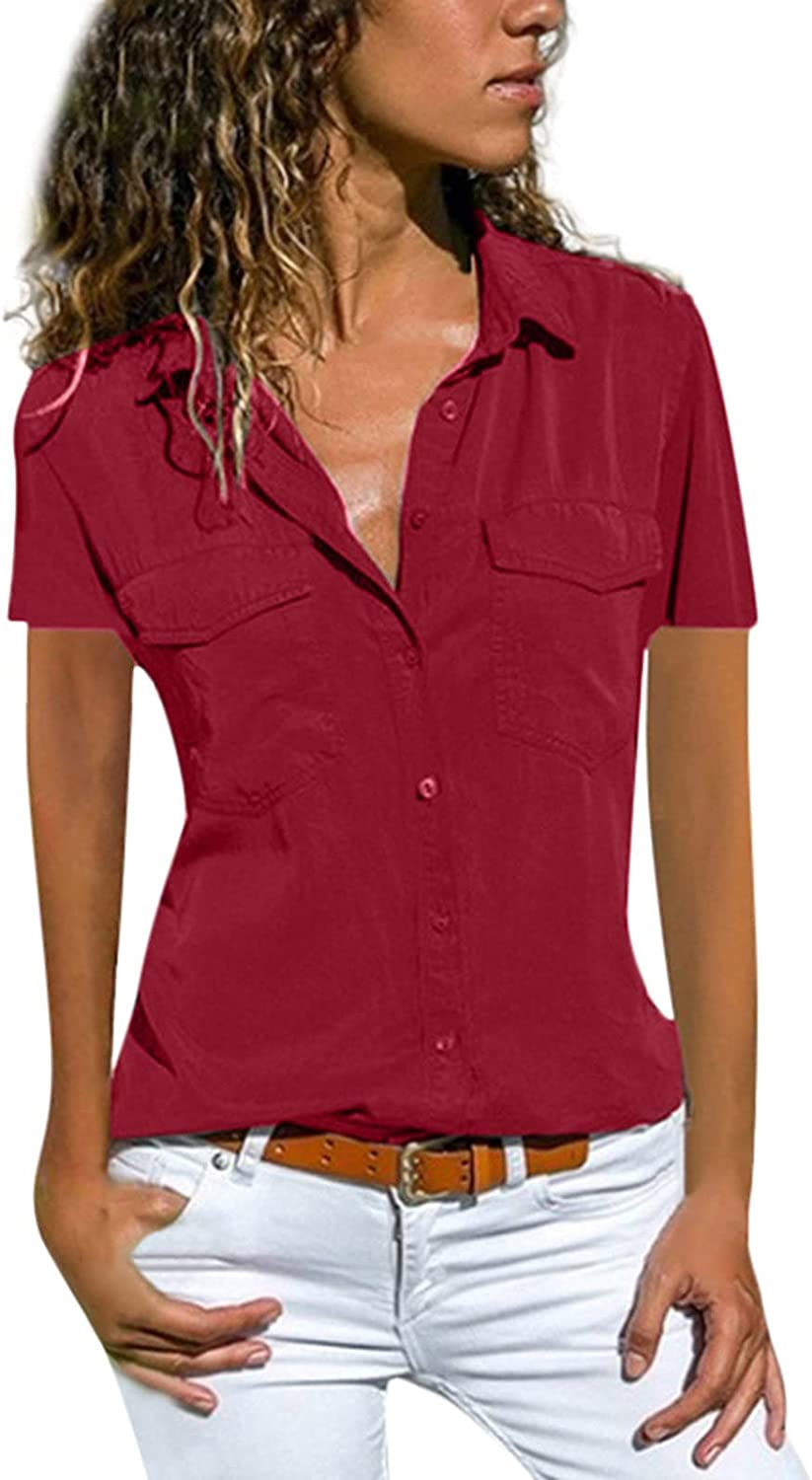 Button Down Blouses for Women,Women's V Neck Shirts Shorts Sleeve Blouse Roll Up Cuffed Sleeve Casual Work Plain Tops D