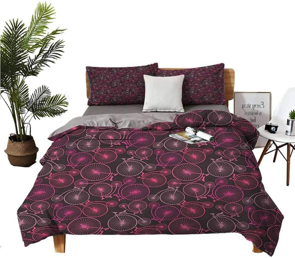 Milwaukee Mall Bicycle 3-Piece Bedding Set Abstract Pattern of Vintage Bikes in Miami Mall