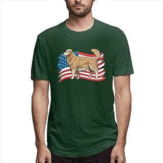 New Men Golden Retriever Dog USA Flag Tshirt - DIY Fashion Short Sleeve Printed Tees Comfotable