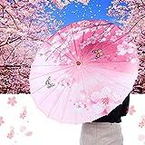 hong Sombrilla de Papel Sombrilla de Baile Sombrilla de Papel Sombrilla de sombrilla de Papel a Prueba de Viento, Sombrilla de Papel engrasado, para Bodas(Pink Butterfly Plum)