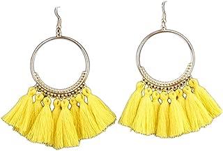 Xuanhemen 1 Pair Women Ethnic Bohemia Drop Dangle Long Rope Fringe Earings Girl Tassel Earrings Lady Fashion Bohe Jewelry Yellow