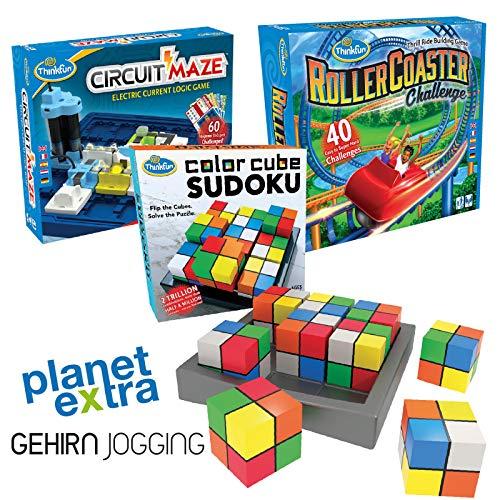 planetextra Thinkfun Bundle Color Cube Sudoku Roller Coaster Challenge Circuit Maze Denkspiel Logikspiel