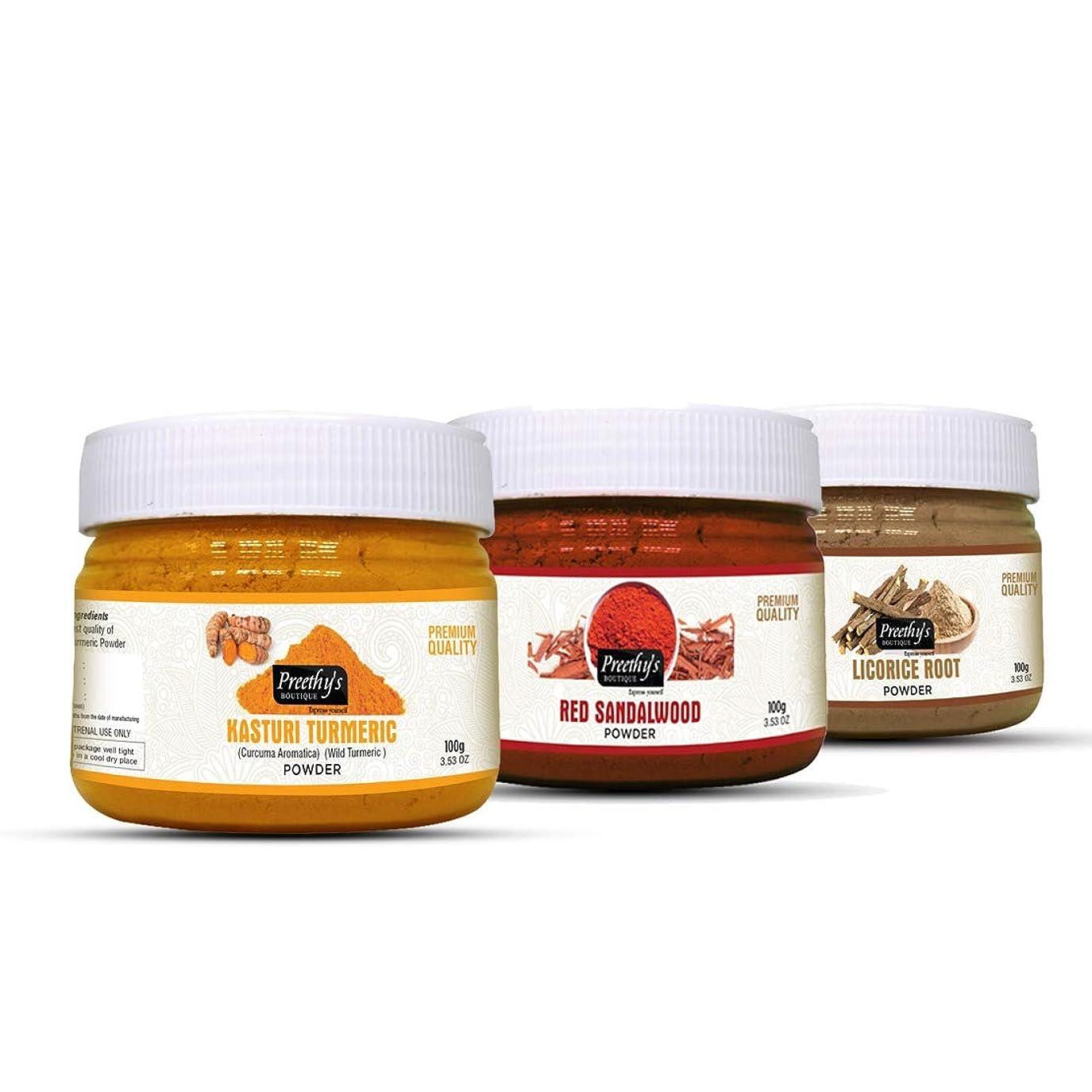 農民承認祝福するCombo Offer of Licorice powder + kasturi turmeric powder + Red sandalwood powder (Each pack of 100gm) - For Anti aging, Radiance & Glow - リコリスパウダー+カストリウコンパウダー+レッドサンダルウッドパウダー(各パック100gm)のコンボオファー-アンチエイジング、ラディアンス、グロー