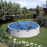 Gre KITPR558 Atlantis - Piscina Elevada Redonda, Aspecto Acero Blanco, 550 x 132 cm