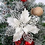 GL-Turelifes - Paquete de 12 flores de Pascua artificiales con purpurina para árbol de Navidad, corona de Navidad, adornos, flores de 16 cm de diámetro, 12 cuerdas suaves de color verde