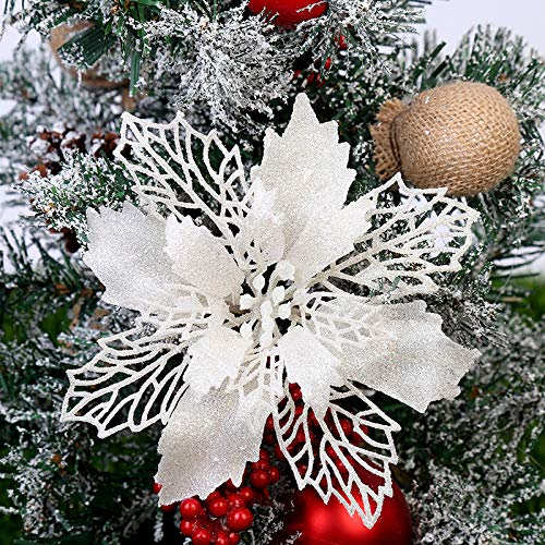 GL-Turelifes Pack of 12 Glitter Artificial Poinsettia Flowers Christmas Wreath Christmas Tree Flowers Ornaments 6''(16cm) Diameter with 12 Pcs Green Soft Stings (White)