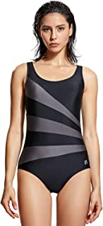 SYROKAN Women's Striped Athletic Training Conservative One Piece Swimsuit