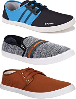Bersache Men's Combo Pack of 3 Walking Shoes, Gym Shoes, Sports Shoes, Running Shoes, Sneakers Shoes, Loafers Shoes, Trekking Shoes, Light Weight Comfortable