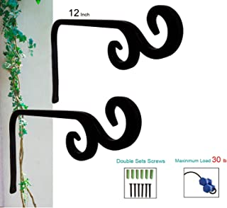 Plant Hooks Hanging Baskets with 2 Durable Curved Hooks Tips for Planters Lanterns Bird Feeders(12 inch- 2pieces) Rust-Resistant Straight Wall Outdoor Hangers