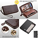 Wallet+Stylus mybat Universal Crocodile-Embossed Fits Apple ZTE Samsung Genuine/Real Leather MyJacket Purse/Case/Clutch/Pouch - Zipper Brown. Compatible Models: