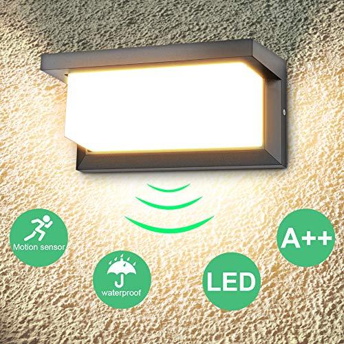 LEDMO 18W LED Aussenleuchten mit Bewegungsmelder LED Wandleuchte Außen 3000K Warmweiß Wandlampe IP65 Wasserdichte 1260lm