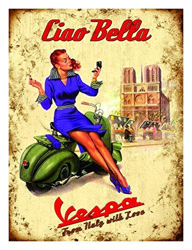 Vespa Scooter Vintage Poster: Ciao Bella