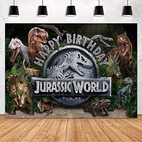 Mehoffin Jurassic World Dinosaurio Decoración de fiesta de cumpleaños para niño Dinosaurio Parque Fotografía Fondo de Fotografía...