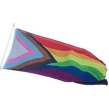 Progress Rainbow Pride Premium Waterproof Polyester Flag 3/'x5/' Banner
