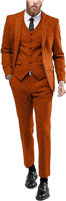 Men's 3 Pieces Formal Suit Notch Lapel Tweed Blend Blazer Vest Separate Pants