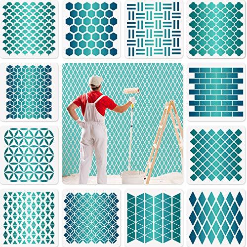 12 Juegos Plantillas Geométricas de Panal Plantillas de Pintura Artística para Decoración de Piso de Pared Muebles Scrapbooking Dibujo Rastreo DIY, 7,87 x 7,87 Pulgadas