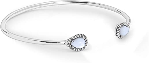 American West Sterling Silver & White Mother of Pearl Slender Adjustable Cuff Bracelet with 1/4
