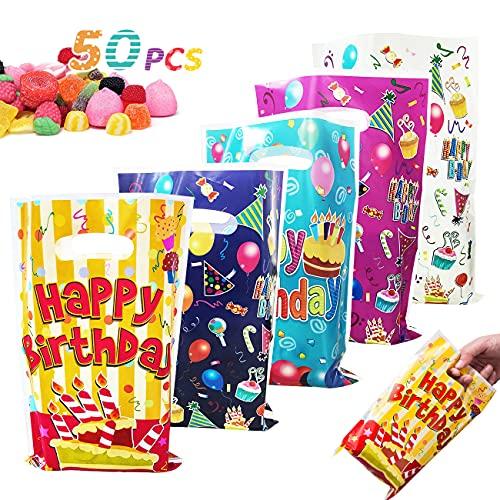 Happy Birthday Sacs de Fête, 50 Pcs Sac Cadeau d'anniversaire pour Enfants Garçons Filles Fournitures de Fête, Petits Sacs-cadeaux en Plastique pour Faveur Bonbons Traiter Présent Biscuits,5 Couleurs