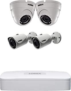 Lorex Super HD Indoor/Outdoor IP Home Security System, 4K N841A NVR,2K 5MP E581CB Bullet,E581CD Dome White Cameras, Motion Detection and Voice Control- 2 Bullet and 2 Dome Camera w/ 8 Channel 2TB NVR