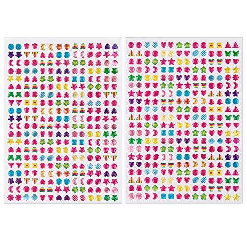 SAVITA 2000+ Klebeohrringe Ohrringe 3D Aufkleber Selbstklebend Klebeohrringe Sticker für Kinder Mädchen Mehrere Farben und Formen(4 Bogen)