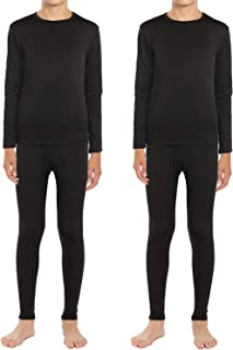 ViCherub Boys Thermal Underwear Set Fleece Lined Long Johns Kids Top & Bottom Knit Base Layer Winter Warm 2 Sets for Boy