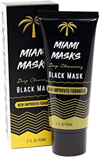 Miami Masks New Formula 2oz Bamboo Black Charcoal PeelOff Face Mask Anti-Acne Pore Minimizer Blackhead Remover Facial Mask All Skin Types Nose, Forehead Smoother Deep Cleansing Purifying