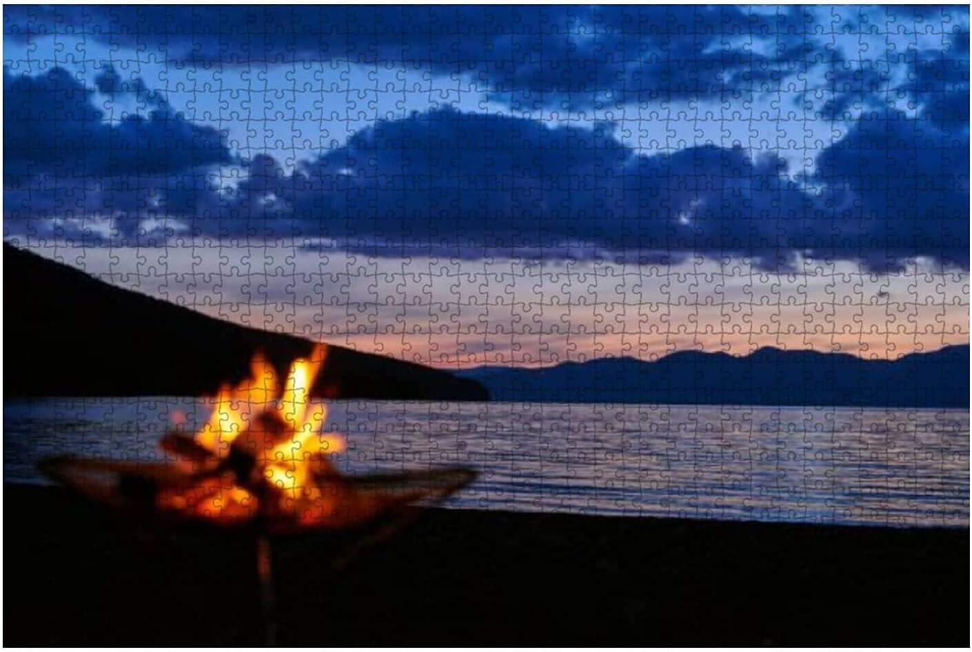 1000 Pieces-with a Bonfire Trust Trust at Wooden Shikotsu Lake Dusk Jigsa