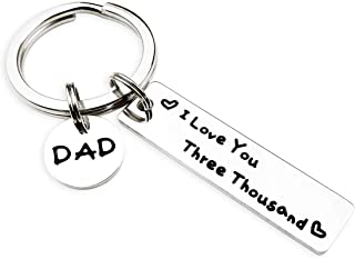 Dad Keychain Father's Day Keychains I Love You Three Thousand from Daughter Son Gifts for Daddy Birthday Gifts