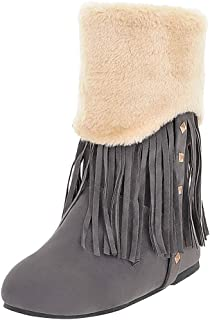 Snow Short Boot,Women's Leisure Solid Large Size Fringe Cold-proof Shoes