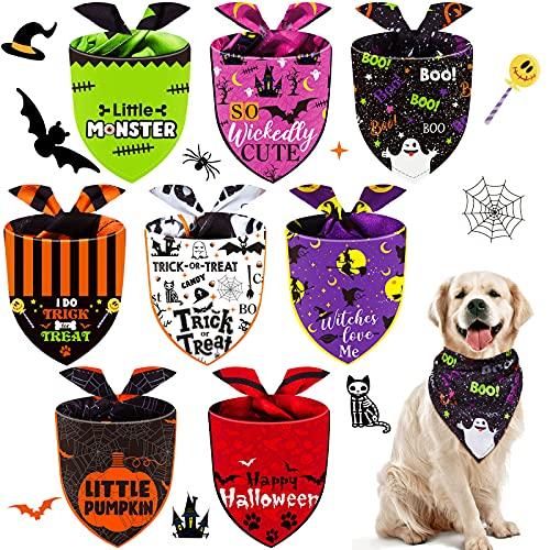 8 Bandanas de Perros de Halloween Pañuelo Triángulo de Perro Babero Lavable Ajustable de Perros Pañuelo de Mascota de Calabaza Murciélago Araña para Disfraz Halloween (Estilo Moderno)