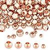 nbeads 約200個 5種 真鍮製 ラウンドビーズ ボールビーズ スペーサービーズ 丸玉ビーズ 金属ビーズ 鉛フリー&ニッケルフリー&カドミウムフリー アクセサリーパーツ DIY用品 手芸用品 ローズゴールド