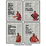 Michael Jordan Motivational Quotes Dictionary Wall Art Set - 8x10 Photo Posters - Gift for Sports, Basketball Fans, Boys, Men, Coach, Entrepreneur, Teacher - Home, Gym, Office Decor or Decoration