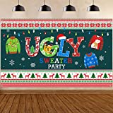 Ugly Sweater Christmas Party Decorations, Large Fabric Ugly Sweater Xmas Party Photo Booth Backdrop for Winter Ugly Sweater Christmas Party Kids Photography Background Holiday Supplies