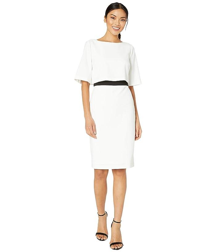 Adrianna Papell  Knit Crepe Color-Block Pop Over Sheath Dress (Ivory/Black) Womens Dress