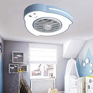 WRMING Lamparas de Techo con Ventilador, Silencioso Lampara Ventilador Techo Infantil, LED luz de Techo con Mando a Distancia Regulable, Moderno Metal Niños Ventilador de Lampara, Ø58cm, 46W,Azul
