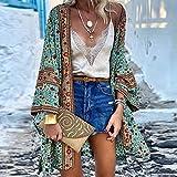 XKMY Traje de baño de bikini para mujer, kimonos bohemios, 2021, kimono japonés, kimono para cosplay, camisa para mujer, japonesa, Yukata, verano, playa, kimono (color: verde, tamaño: M)
