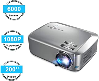 Projector Native 1080P Projector Full HD 4K, with 6000 Lux 200'' Display 50000 Hours LED Compatible with Smartphone/HDMI/VGA/USB/TV Box/Laptop/DVD/PS4,Indoor & Outdoor Projector for Home Theater