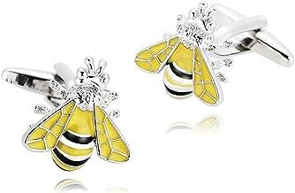 Epinki Mens Stainless Steel Black Yellow Animal Bumble Bee Design Cufflinks for Wedding Business