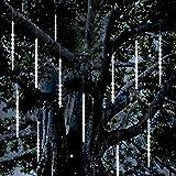 Vikdio Lluvia de Meteoros Luces de lluvia, 30cm 10 Tubos de Espiral 300 LEDs Nieve Caída Luces de Cuerda para la Boda Árbol de Navidad Decoración del Hogar, Soporte 3 Juegos Gancho (Blanco)
