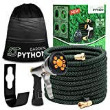 Expandable Garden Hose 75ft with Heavy Duty Metal 9 Function Water Hose Nozzle & Metal Garden Hose Holder. The Pocket Hose is Flexible, Portable, Kink Free & Lightweight for All Your Yard Gardening