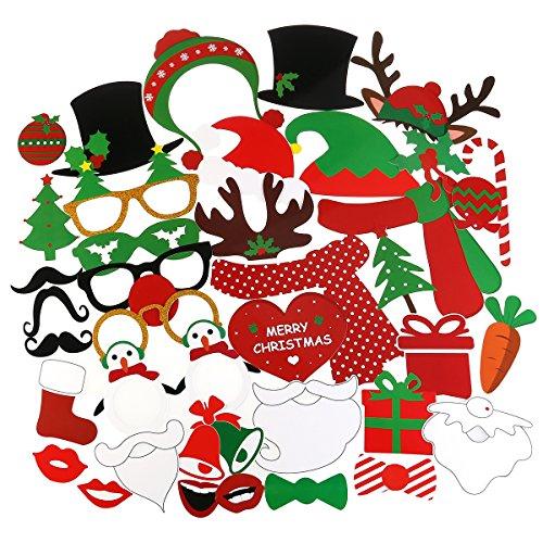 Tinksky 38PCS Weihnachten Fotorequisiten Kit für Partybedarf Weihnachtsgimmick Xmas dekoration Weihnachtskinder Gefälligkeiten