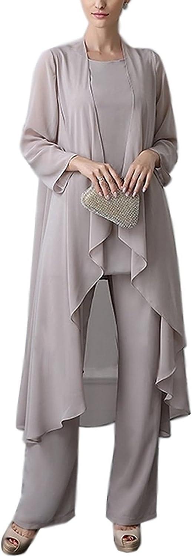 Newdeve Chiffon Mother of The Bride Pant Suits for Women 3 Pieces Set Plus Size
