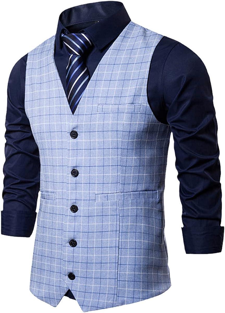 Suit vest men's jacket sleeveless plaid vest fashion spring and autumn plus size business casual vest