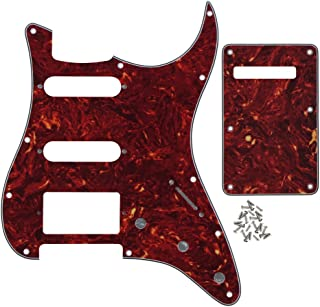 IKN 4Ply Red Tortoise 11 hole Strat HSS Pickguard Guitar Back Plate with Screws Set for Standard Strat Modern Style Guitar Part